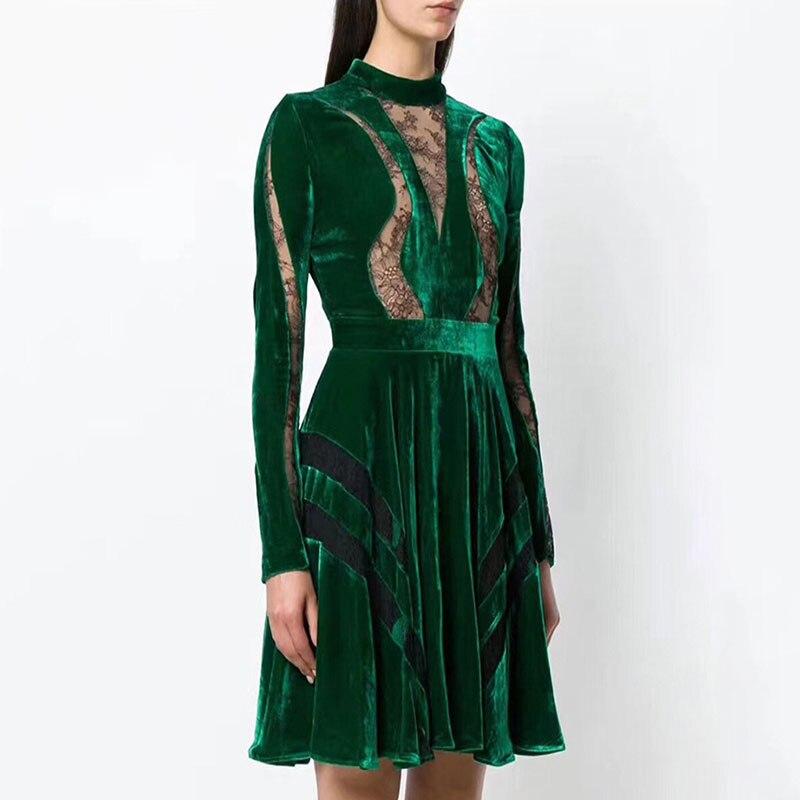 Robe Dentelle Hiver Manches Noir Longues Automne vert Vêtements Patchwork Vintage 2018 Femmes Piste Velours Plissée Designers xoBerdC