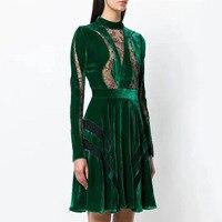 Runway Dress Designers 2018 Autumn Winter Clothes Women Vintage Long Sleeve Lace Velvet Patchwork Pleated Dress