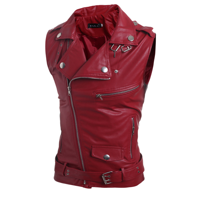 Leather Motorcycle Vest Harley Mens Leather Vest Red Waistcoat Steampunk