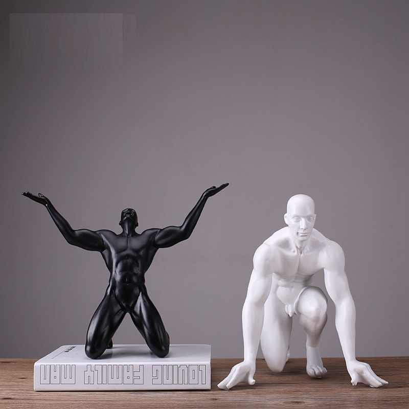 Modern Resin Men's Statue Athlete Sculpture Abstract Carving Man Characters Figurine Home Decoration Wedding Gifts R1146