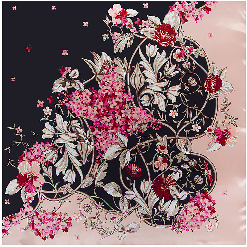 POBING Women   Scarf   Luxury Brand Flowers Print Hijab Silk Satin Shawls Foulard Square Head   Scarves     Wraps   For Ladies 90x90CM