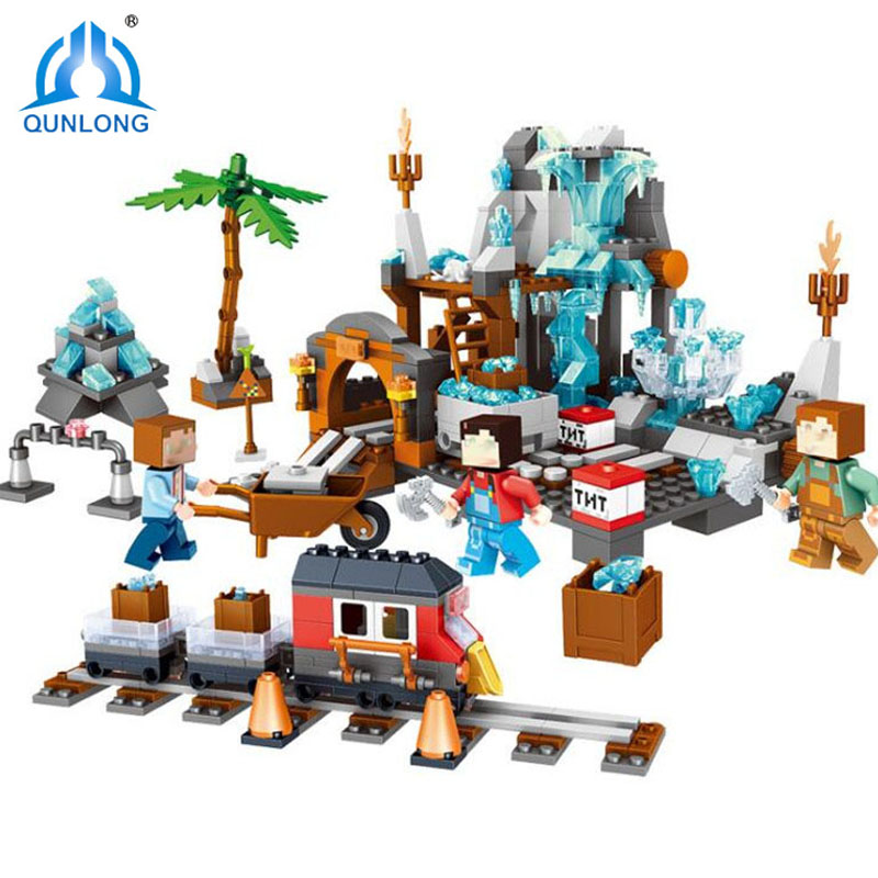 Qunlong 718pcs Mine Crafted My Village DIY Brick Building Block Compatible Legoings City Figure Children Toys For Kids Gifts