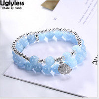 Uglyless Real 925 Sterling Silver Balls Beading Bracelets Aquamarine Beads 2 Layers Bangles Open Shell Charms Fine Jewelry Pearl