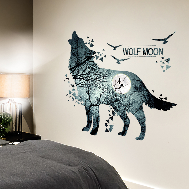 [SHIJUEHEZI] भेड़िया दीवार स्टिकर विनील DIY प्रकृति पशु मुरली बच्चों के कमरे के लिए बच्चे बच्चों के बेडरूम शयन कक्ष सजावट