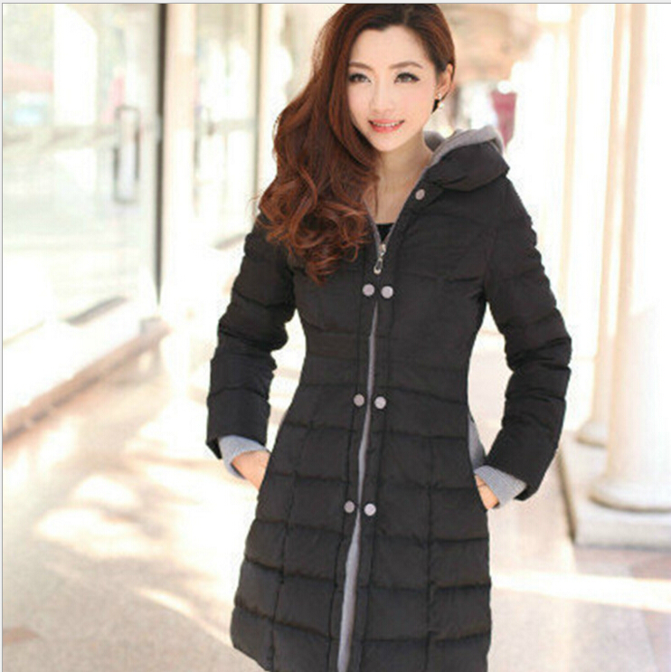 ФОТО 2016 Female Warm Winter Jacket Women Coat Parka Down Jacket long section Slim zipper Outwear padded W-020