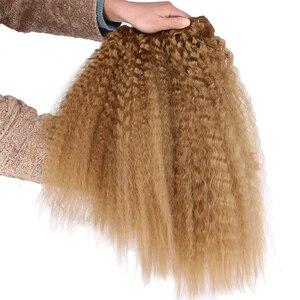 Image 3 - Altın Sapıkça Düz Saç Demetleri 16 20 inç 3 parça/paket 210 Gram Sentetik Örgü saç ekleme kadınlar için
