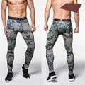 Moda Verão 2016 Dos Homens Homens calças de compressão calças justas musculação skinny leggings camuflagem calças