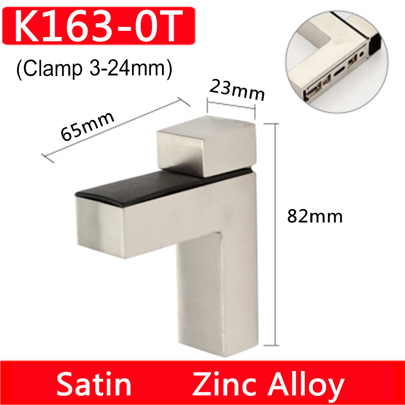 2pcs K163-0T Length 65mm For 3 to 24mm glass board platform style Glass Clamps Satin finished Shelves Support Bracket Clips2pcs K163-0T Length 65mm For 3 to 24mm glass board platform style Glass Clamps Satin finished Shelves Support Bracket Clips