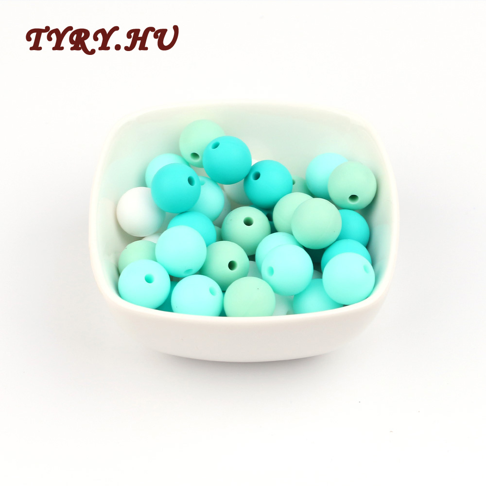 TYRY.HU 20pc 12mm Silicone Beads Diy Baby Teether Teething Necklace Accessories Pacifier Clips Crib Bead for DIY Pendants Gifts