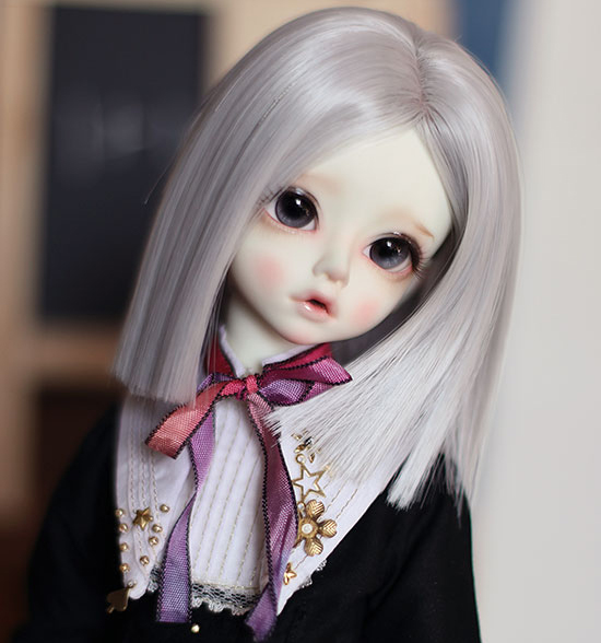 D01-P491 children handmade toy 1/3 1/4 uncle Doll Accessories BJD/SD doll wig Moore gray straight long hair 1pcs