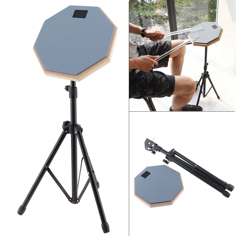 Color Gray 8 Inch Rubber Wooden Dumb Drum Practice Training Drum Pad with Stand