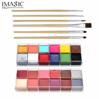IMAGIC Body Painting With Brush Flash Tattoo Brand 12 Colors Face Paint Palette Halloween Makeup Temporary Glowing Painting