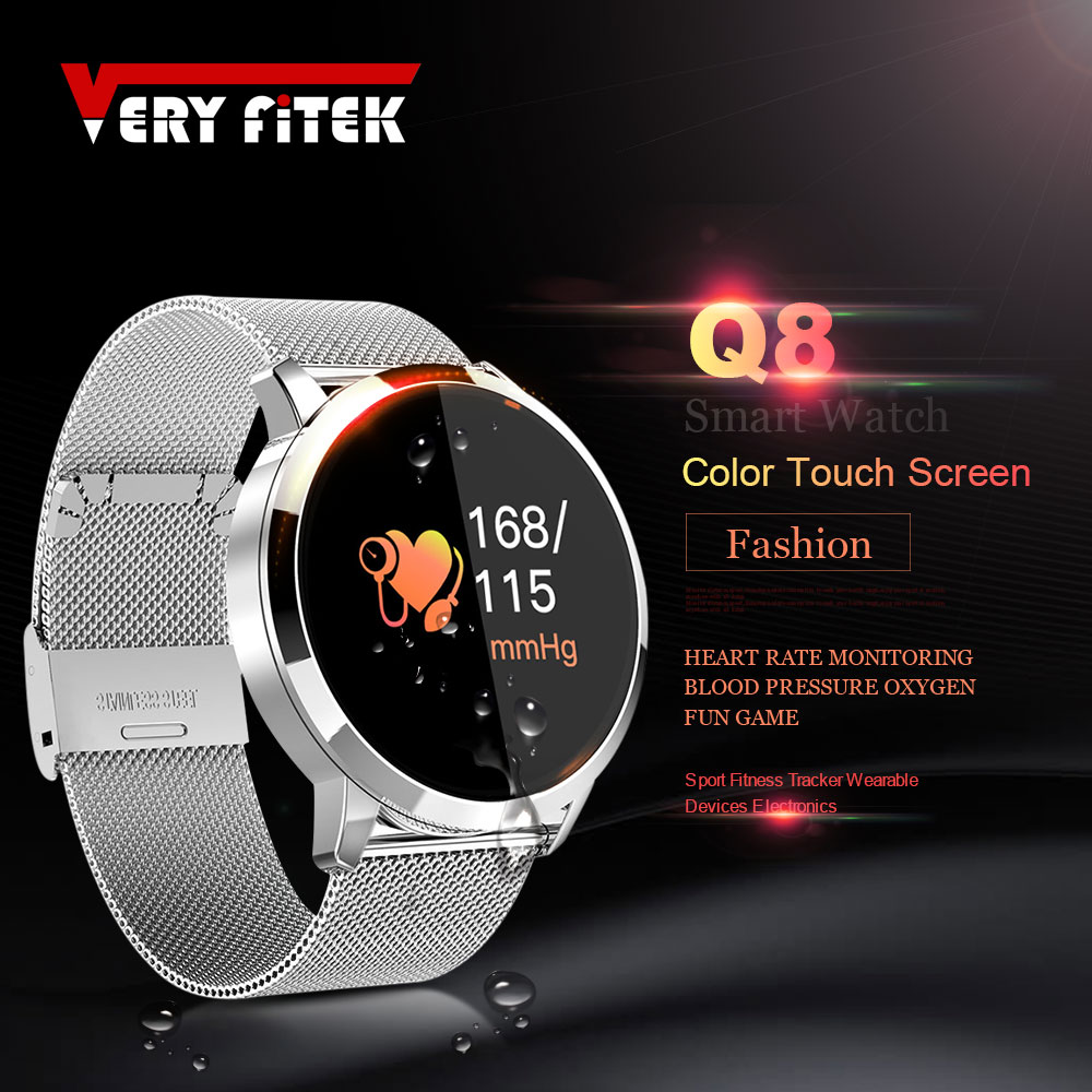 VERYFiTEK Q8 Pressão Arterial de Oxigênio SmartWatch Freqüência Cardíaca Monitor de Esporte Da Aptidão Das Mulheres Dos Homens Relógios IP67 Pedômetro Relógio Inteligente