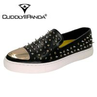 CUDDLYIIPANDA Men Casual Flats Shoes Leather Rivets Driving Sneakers Man Studded Zapatos Hombre Tassel Chaussure Homme