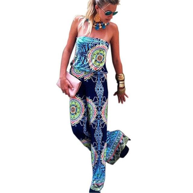 b7d326976dd8 Summer Elegant Women Jumpsuit Floral Printed Full Length Wide Leg Playsuit  Irregular Sexy Black Strapless Rompers