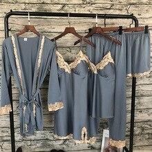 Pijama de satén de 5 piezas para mujer, ropa de dormir Sexy de encaje, de seda, 2018