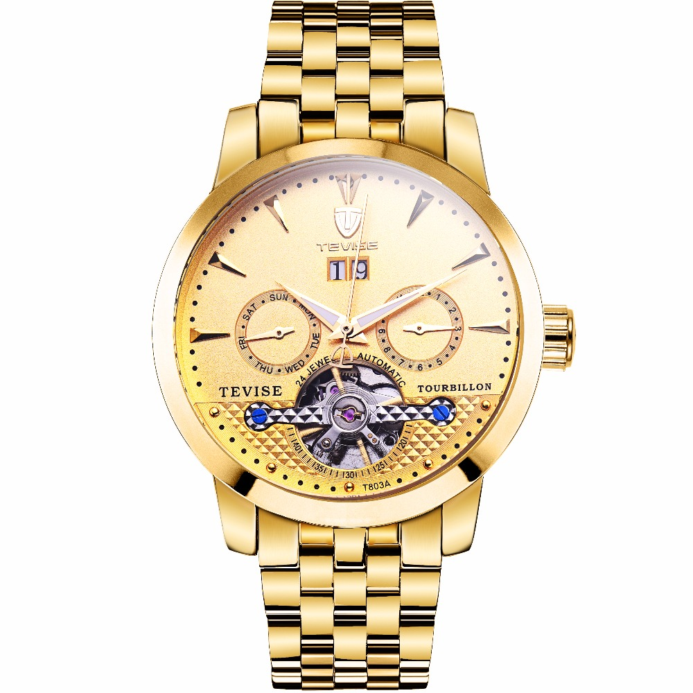 TEVISE 2018 Golden Men Watch Cool Mechanical Automatic Wristwatch Stainless Steel Band Male Clock Skeleton hollow out dial design automatic mechanical watch with metal band for men tevise 8377003