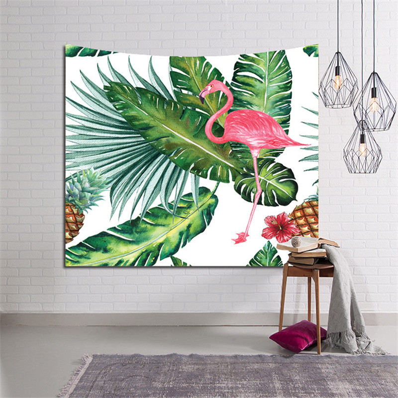 Home Decor Large Wall Hanging Blanket Art Tapestry Bohemian Boho Indian Plant Forest Leaves Flamingo Carpet Tapestry 200x150cm Replacement Batteries