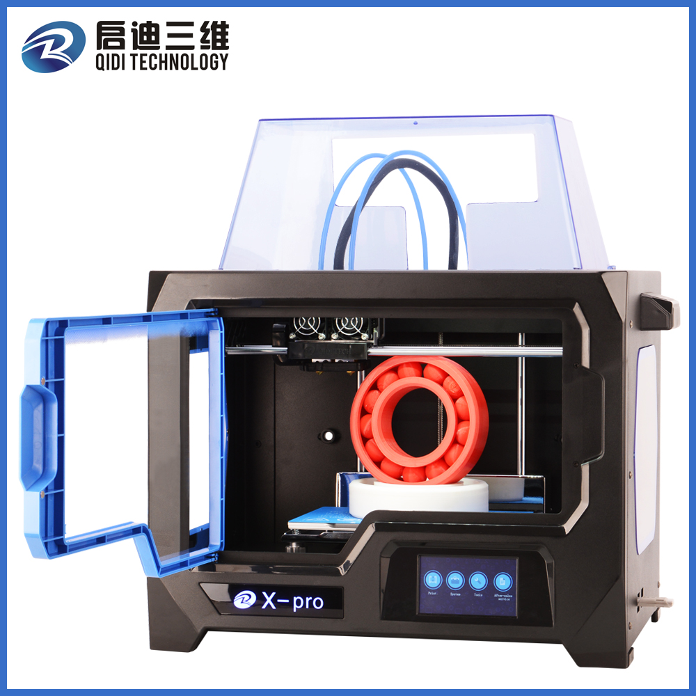 QIDI TECHNOLOGY 3D PRINTER New Model X -pro ,4.3 Inch Touch Screen,Dual Extruder With 2 Spool of Filament,Works With ABS And PLA biqu new spool filament mount rack bracket for pla abs filament 3d printer