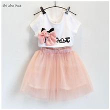 Girls Summer New Kids Clothing Sportswear/ Set 2018 Fashion Sweet Bow Short-sleeved T-shirt /Lace Skirt 2-7 Age  Baby clothes
