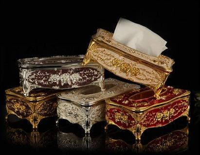 Fashion Tissue Box Cover Europeisk Crystal Decoration Rose - Hemlagring och organisation