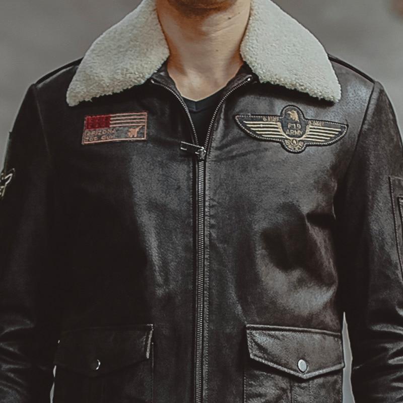 Men's real leather jacket air force flight jackets pigskin Genuine Leather Aviator jackets motorcycle coat men biker jacket