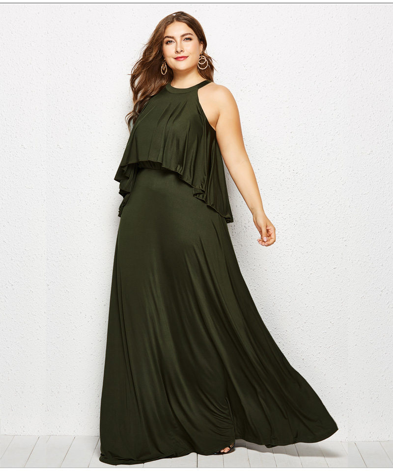 4a45b8020c Dinminsta Women Plus Size Long Dress Female Autumn 3XL 4XL Vintage Loose  Floor Length Maxi Dresses Solid Blue Halter Frocks 2018