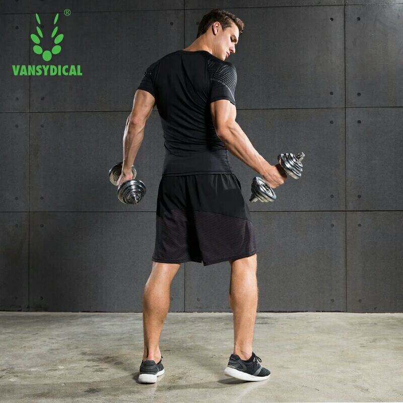 Vansydical Summer Jogging Suits Men's Fitness Sport Suits Quick Dry Basketball Running Shirts+Shorts Sets Gym Sportswear 2pcs 6