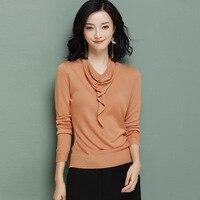 womens top Ice silk long sleeve Heap collar t shirt all match tee brown black Purple gray blue t shirt women bts