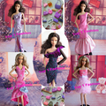 10items=5pcs evening dress+5pcs fashion bag free shipping Doll's evening Dress Clothes For Barbie doll