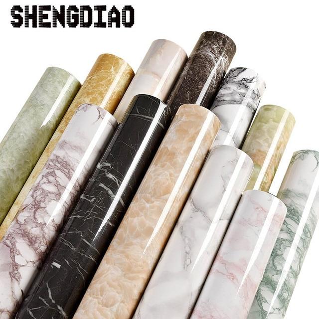 3M/5M/10M waterproof pvc imitation marble pattern stickers self adhesive wallpaper window sill wardrobe cabinet table renovation