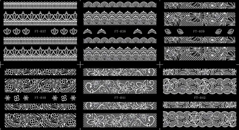 6 листов/lot 3D easy-палки назад клей Гвозди Книги по искусству Стикеры наклейки Черное кружево волна линии лепесток племенной ft037-054