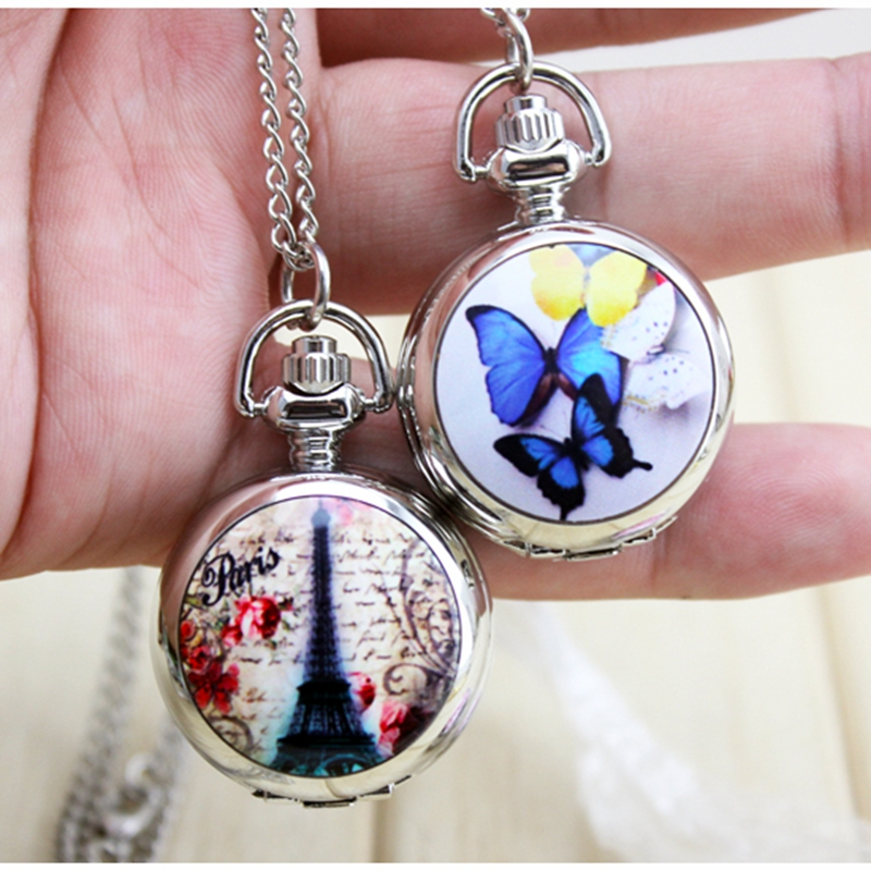 Butterfly pocket watch charming cute beautiful key chain fashion jewelry  floating Glass Lockets Necklace Antique Pocket Watch old antique bronze doctor who theme quartz pendant pocket watch with chain necklace free shipping