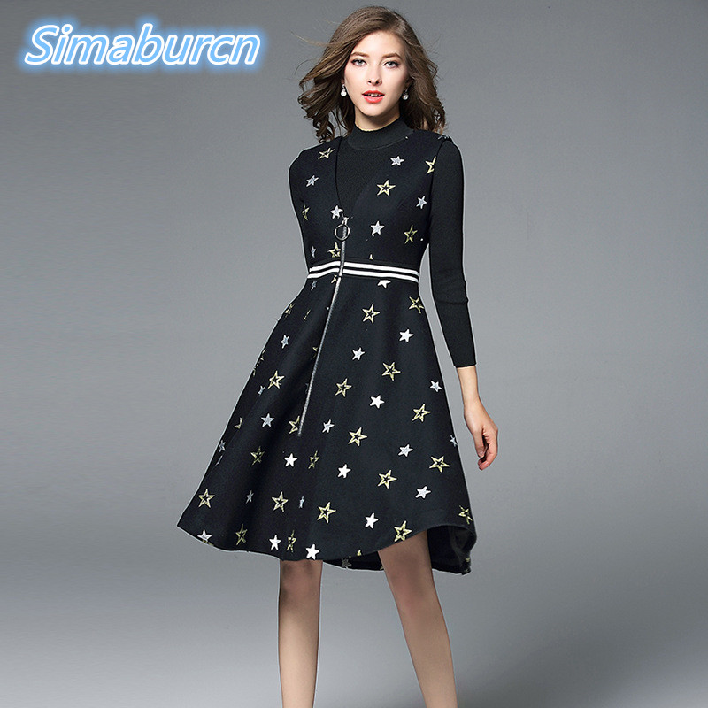 2017 Women Autumn Knitted T-shirt Two-Piece Dress Clothing Femme Casual Woman A-Line Party Vintage Embroidery Winter Dresses 2017 autumn maternity dress t shirt