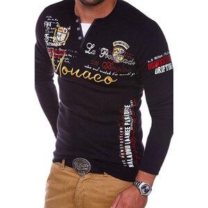 Image 2 - ZOGAA 2018 גברים פולו חולצה מזדמן כותנה מכתב הדפסת טי ארוך שרוול חולצה לגברים אופנת חולצות באיכות מוצק Polos חולצות