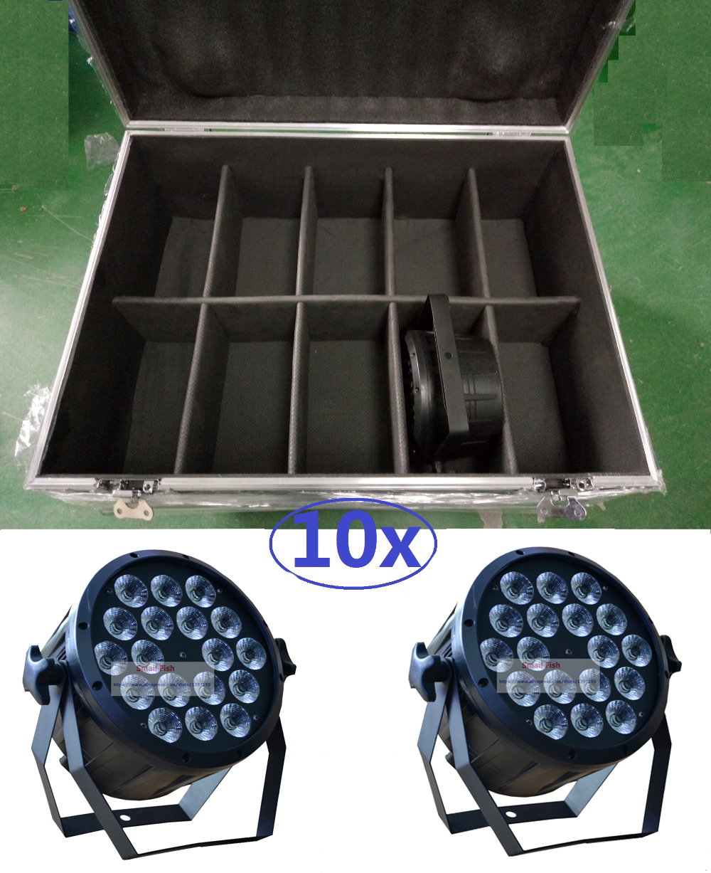 2016 High Power Led Par Light 18x12W RGBW 10pcs in Flightcase Flat Par Led Can Light DMX DJ Disco Beam Wash Laser Stage Lighting 4pcs lot the brightest 4 8 dmx channels led flat par 18x12w rgbw 4in1 led par can light with power in power out