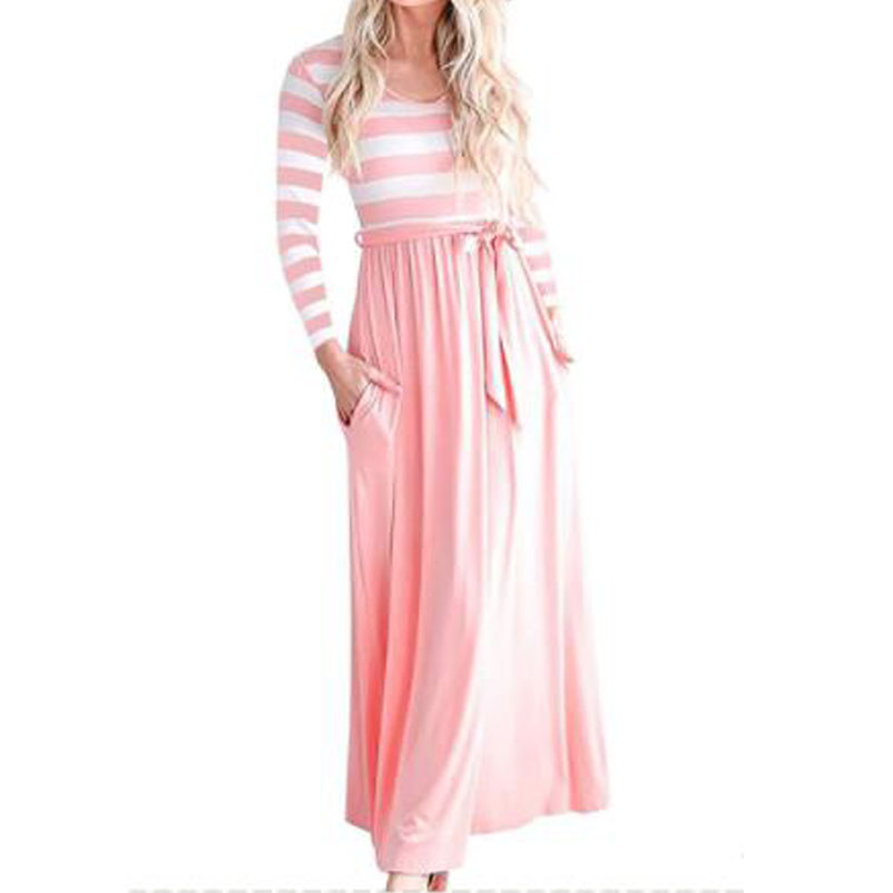 Tall High Women Spring Autumn Beach Boho Maxi Dress 2018 Brand Pink Striped Long  Dresses Feminine ba382bdb84af