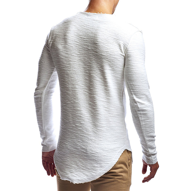 New fashion men's T-shirt 2018 autumn and winter long-sleeved solid color T-shirt men's brand clothes Slim T-shirt 2