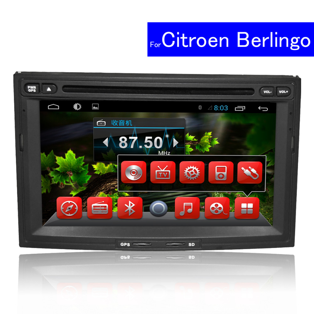 "1024*600 HD 7"" Capacitive Screen Multimedia Player for Citroen Berlingo Android Car Radio GPS Navigation TV WIFI Car DVD 2 Din"