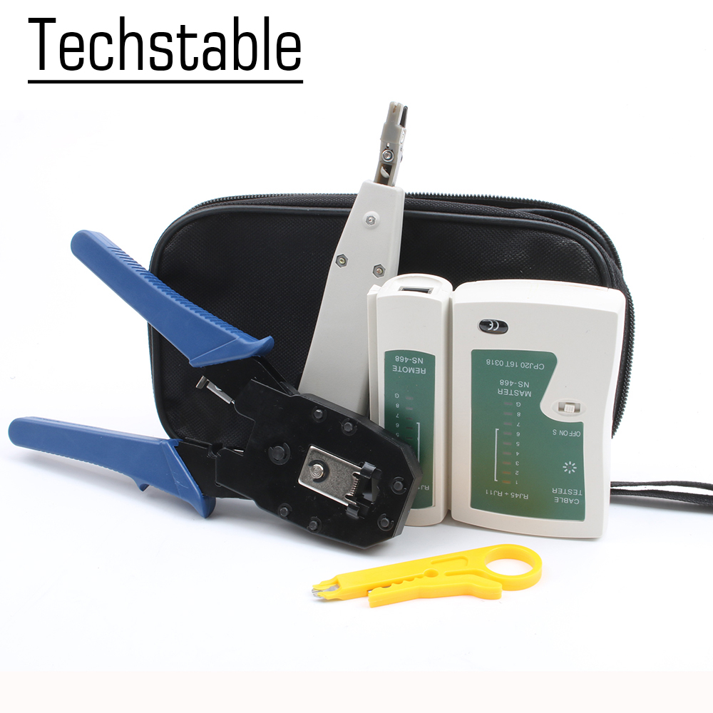 Multifunctional Network Ethernet Cable Tester Kit RJ45 Crimper Crimping Tool Punch Down RJ11 Wire Line 8P8C RJ45 tool setMultifunctional Network Ethernet Cable Tester Kit RJ45 Crimper Crimping Tool Punch Down RJ11 Wire Line 8P8C RJ45 tool set