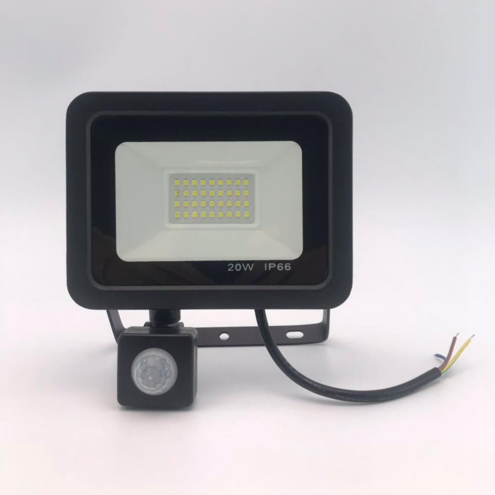 Image 2 - 10W 20W 30W 50W 100W Induction Led flood light With Adjustable PIR Sensor SMD 2835 floodlight Outdoor Lighting For Street Square-in Floodlights from Lights & Lighting