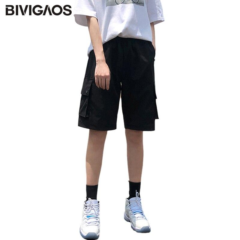 BIVIGAOS Pocket Cargo Shorts Women Summer Loose Straight Casual ShortPants High Waist Handsome Tide Sports Knee Length Shorts