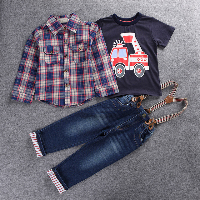 2017 Casual Childrens clothing sets spring Baby boy suit Long sleeve plaid shirts+car printing t-shirt+jeans 3pcs suit set F1802