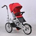 Momia del bebé Bicicleta Cochecito Plegable de Tres Ruedas Carritos Bicicleta Niño Cochecitos de Niños y Madre de Paseo en Bicicleta de Tres Ruedas de Acero Del Cartón