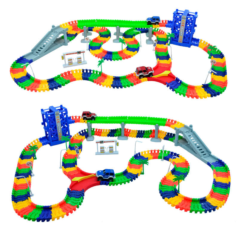 240pcs Race Track +2pc LED Car Miraculous Ramp Race Track Bend Flex Racing Track Set DIY Track Electric Rail Car Model Toy Set 280pcs miraculous race track bend flex car toy racing track set diy track electric rail car model set gift for kids