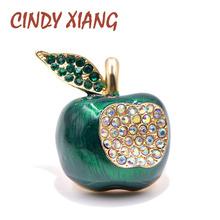 Cindy xiang Rhinestone Apple broszki dla kobiet kolor zielony emalia owoce szpilki biżuteria zima stanik prezent wysokiej jakości tanie tanio CN (pochodzenie) Ze stopu cynku PLANT BR50068 Moda Kobiety TRENDY