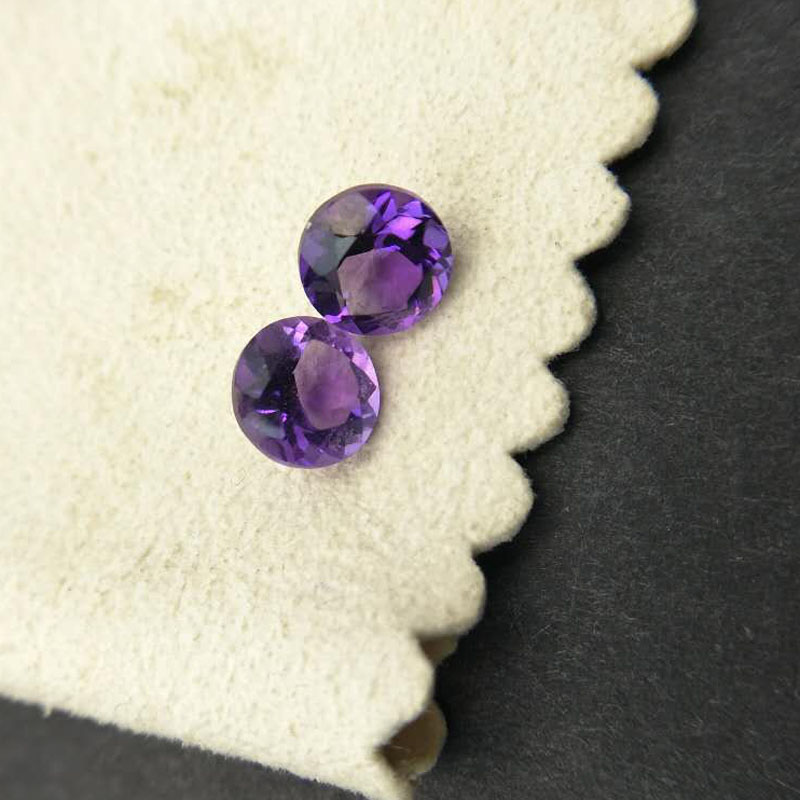 Tbj ,Natural african amethyst round 7 mm loose gemstone,two pieces in one lot for silver gemstone jewlery mounting