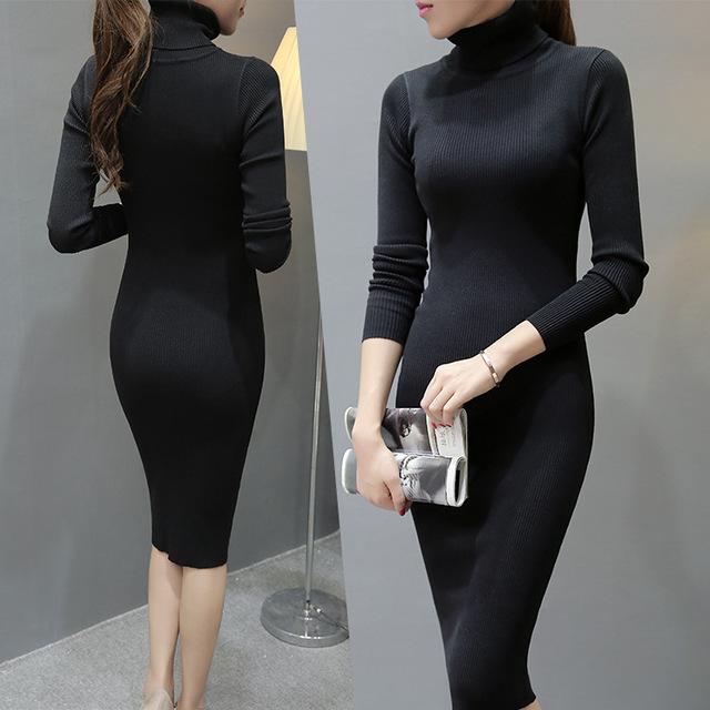 Women Winter Dress Turtleneck Long Sleeve Knitted Sweater Dress Slim Sexy Long Dress Casual Basic Dress vestido de festa 1013