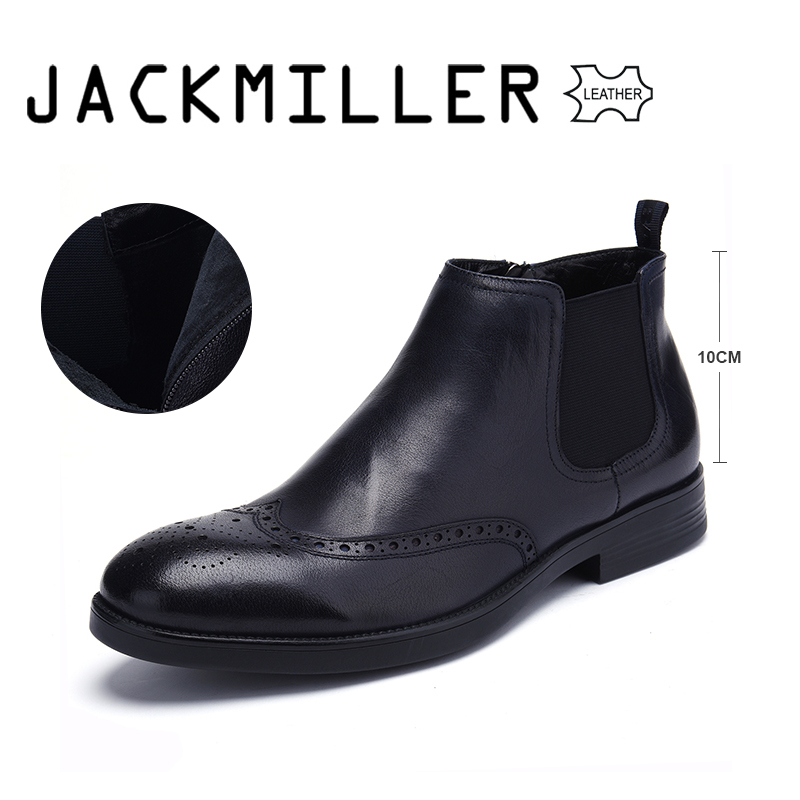 Jackmiller 2018 New Spring Autumn Men Boots Genuine Leather Chelsea Boots Dark Navy Full Grain Leather Men Boots Big Size 39-45 цена 2017