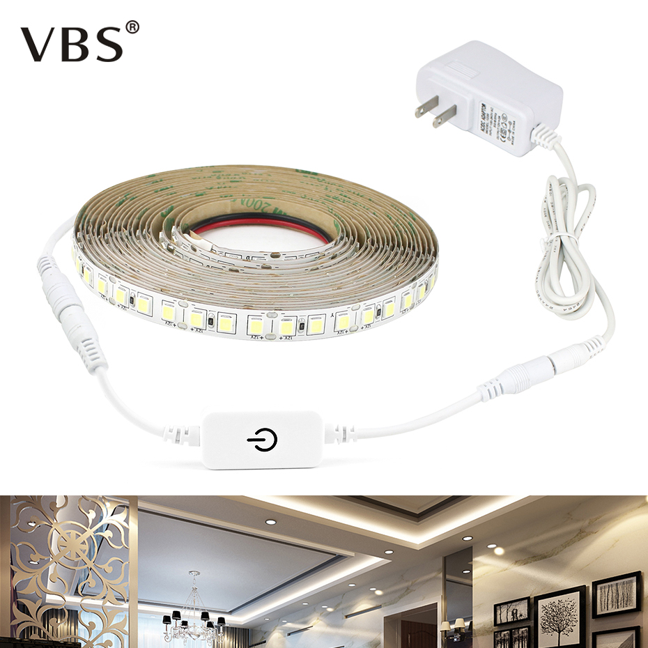 Dimmable Touch Switch 4040 SMD LED Strip 12V 5M 110V 220V LED Flexible Light Diode Tape LED Ribbon Under Cabinet Kitchen Light